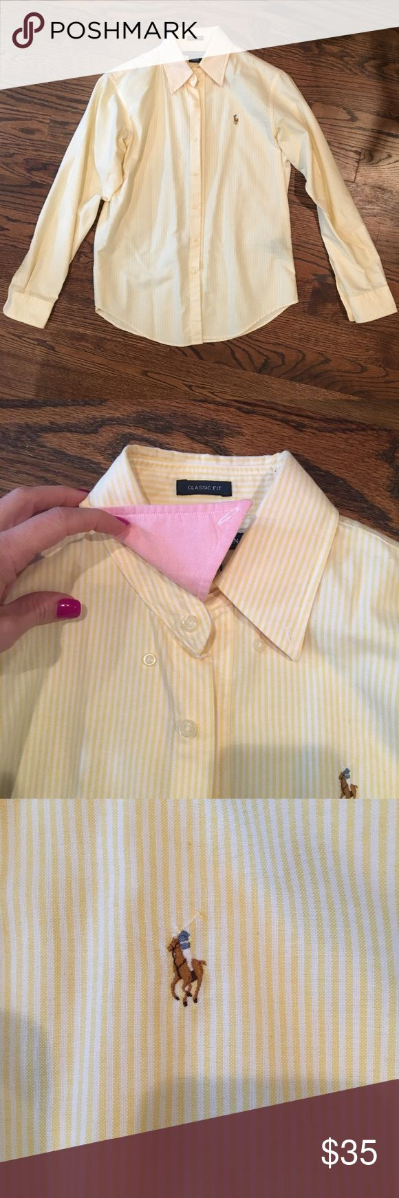 Ralph Lauren classic fit women's Oxford shirt Ralph Lauren classic fit women's Oxford shirt in yellow and white stripe size 8. Button-down collar and the underneath of the collar is a cute pink color. Excellent condition from a pet free/smoke free home. Ralph Lauren Tops Button Down Shirts