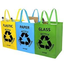 I used to have something like this when I lived in Huddersfield - They're great! £7 ain't bad either.  AMOS 3 x Recycling Recycle Bags Reusable Plastic Glass Paper Waste Storage Bins