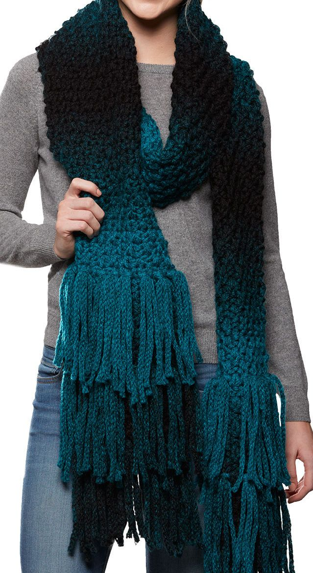 Free Knitting Pattern for Super Fringe Scarf - 4-row repeat super scarf with long fringe. Quick knit in super bulky yarn. Great for ombre or multi-color yarn!