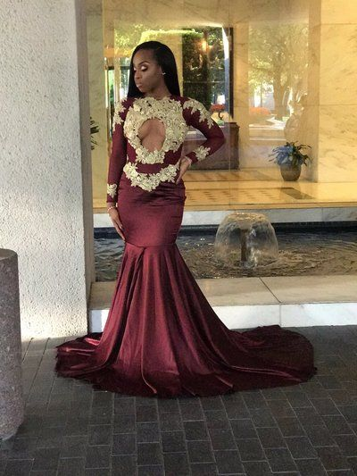 e0642c64439 Wine Red Burgundy African Black Girl Prom Dresses Appliques Long Sleeve  Evening Dresses Long Party Gowns
