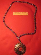 HUDSON BAY MARKED PIN BROOCH,  fur trade BROOCH ON VENITIAN TRADE BEAD NECKLACE