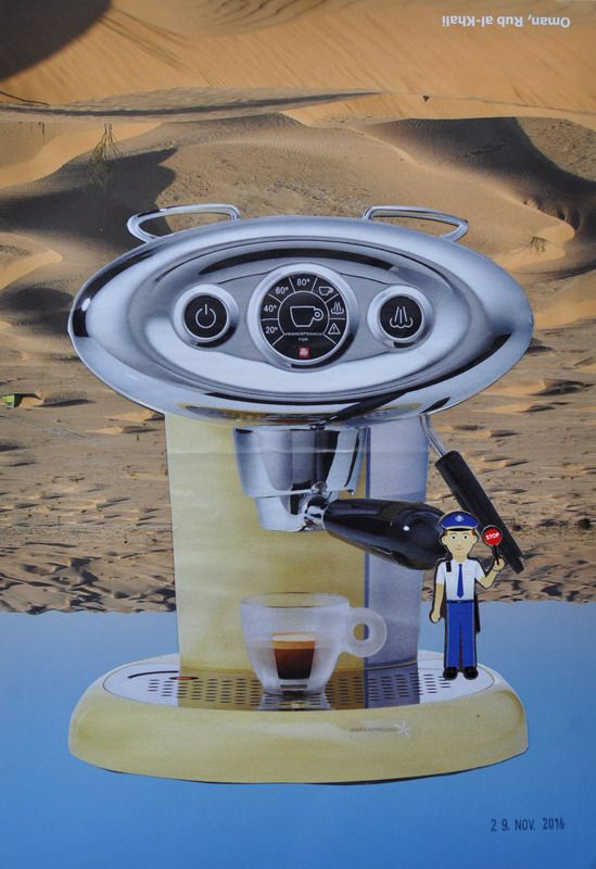 TO BUY: send an email to wegerer.roland@gmx.at € 220,– excl. shipping | Coffee On Mars | Collage on Paper, 20,6 x 29,6cm, 2014 Unique   The work comes with its certificate of authenticity signed by the artist. #RolandWegerer #instaSale #instaShop #forSale #product #sales #shopsmall #shopping #art #contemporary #collage