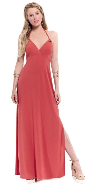 A maxi all-day long dress in soft pastel red shade is the perfect choice to create a statement look!