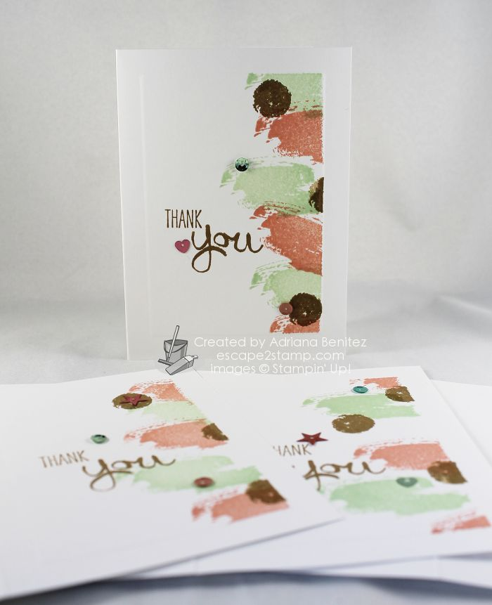 Escape2stamp; one layer card, thank you, Stampin' Up! Work of Art stamp set