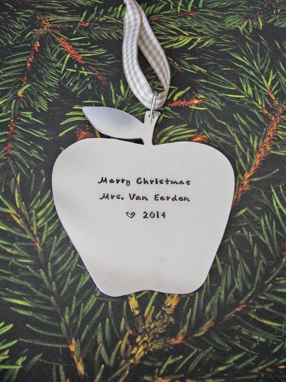 personalized teacher holiday ornament by juliethefish on Etsy