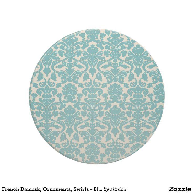 Frans Damast, Ornamenten, Wervelingen - Blauw Wit Zandsteen Onderzetter
