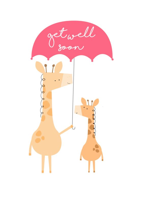 Get well soon, giraffes under umbrella - Free greeting card with every order of Postabloom flowers