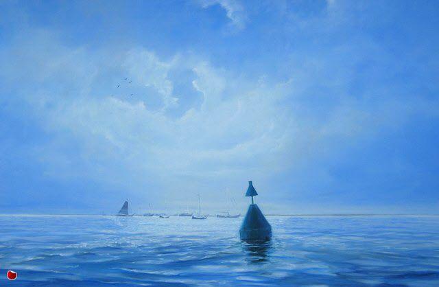 schilderij van schepen voor anker op de Waddenzee