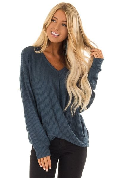 b26531e5784 Midnight Teal Soft Long Sleeve Ribbed Top with Front Twist - Lime Lush  Boutique