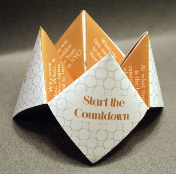 New Years Eve Party, Cootie Catcher, New Years Favor, Decoration, Card, Invitation, Modern, Silver, Gold, Start the Countdown, Happy New Year, Favor, Trivia, Game, Activities, Party