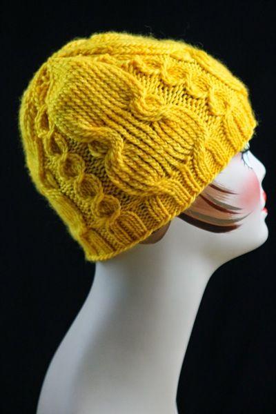 Knitting Hat Pattern Circular Needles : Twisted cable knit hat circular knitting needles
