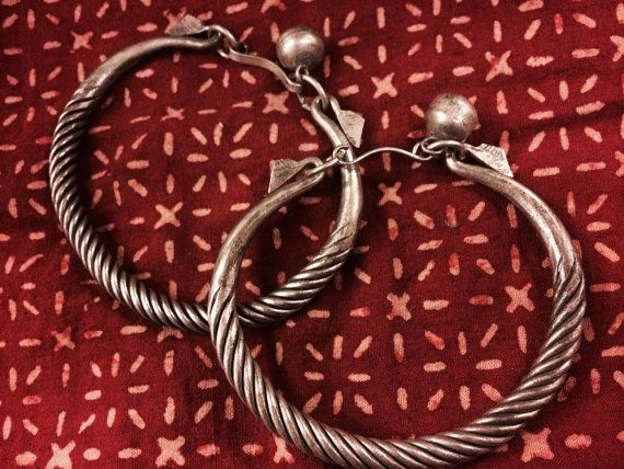 Pair of White Metal Bracelets from Thailand by EyesVintage on Etsy