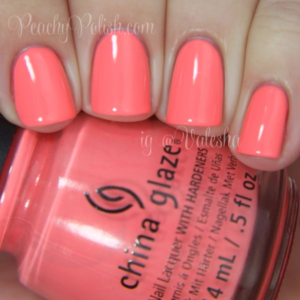 "China Glaze: Spring 2014 City Flourish Collection Swatches & Review - Peachy Polish ""Petal To The Metal"" is a bright coral that borders on neon."