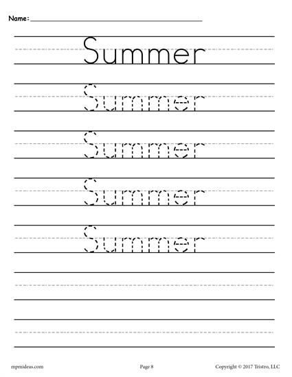 Seasons & holidays FREE handwriting worksheets. These writing and tracing worksheets are great for preschool and kindergarten. Get all 10 handwriting practice sheets here --> http://www.mpmschoolsupplies.com/ideas/7535/free-seasons-and-holidays-handwriting-worksheets/