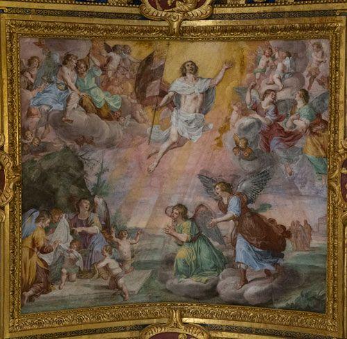 Pääsiäinen. Giovanni Carlone, 1620-luku, Jeesuksen ylösnousemus. Basilica della Santissima Annunziata del vastato -kirkko, kattomaalaus. Genova, Italia. Valokuva Marco Peretto.