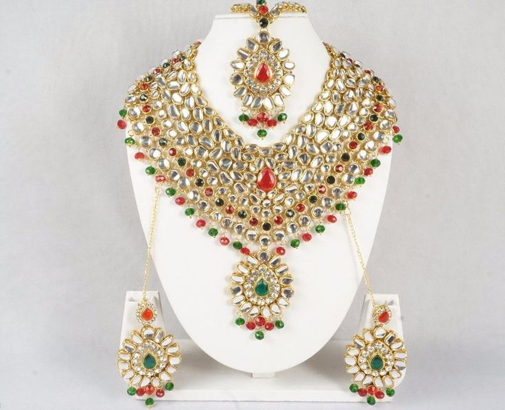 Indian Mughal Designer Style Bridal Necklace and Earrings Set Ethnic Gold Plated #Handmade