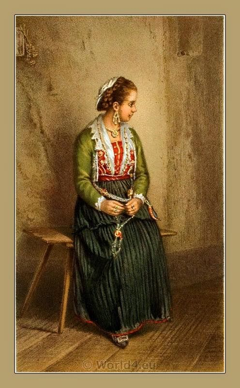 Arbreshe woman from Keshtjella (Kaštela, Dalmatia).Traditional Albanian Arbreshe National Costumes in 19th century