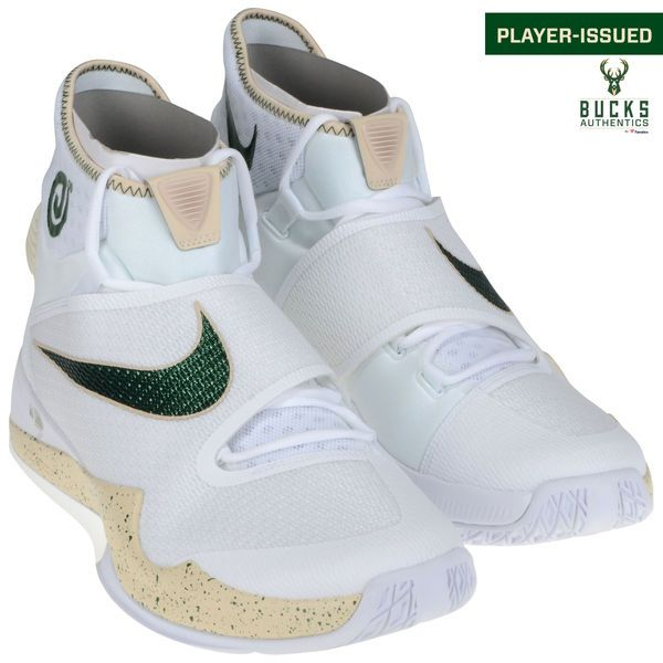 O.J. Mayo Milwaukee Bucks Fanatics Authentic Player-Issued #3 White and Green Nike Shoes from the 2015-2016 Season - Size 14 - 2 - $249.99