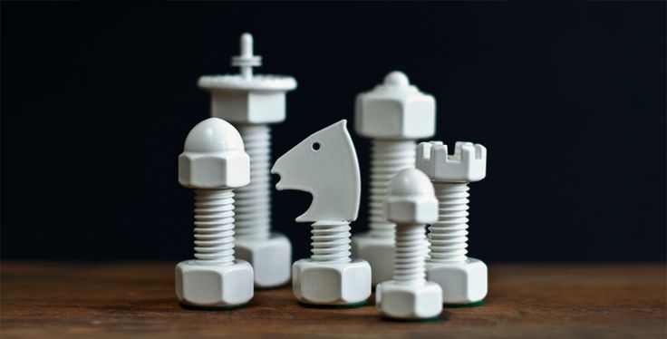 Chess Set Handcrafted from everyday hardware