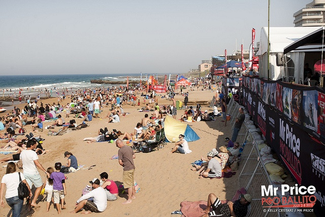 Mr Price Pro Ballito 2012 - Day 6 packed with surfing fans and sun bathers. © Kelly Cestari / Mr Price.