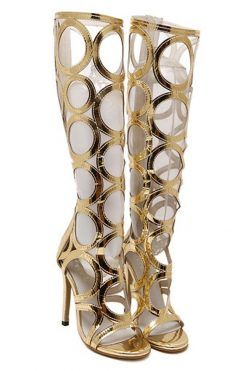Sandale gladiator aurii cu toc