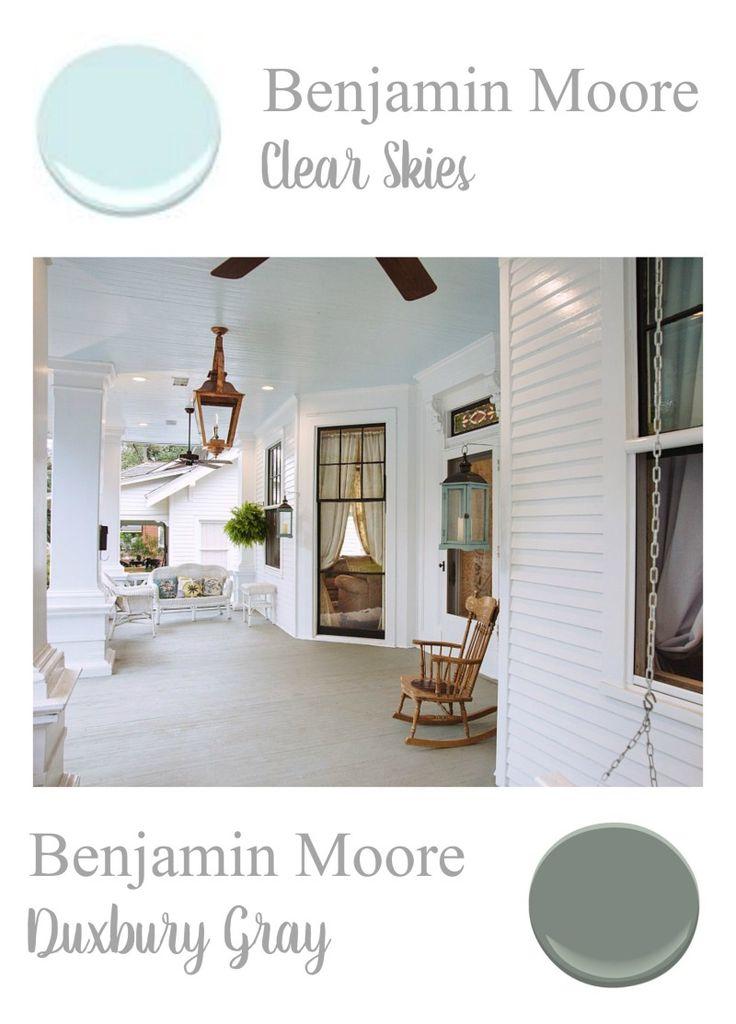 Benjamin Moore Paint Colors   Porch Ceiling, Clear Skies   Porch Floor,  Duxbury Gray