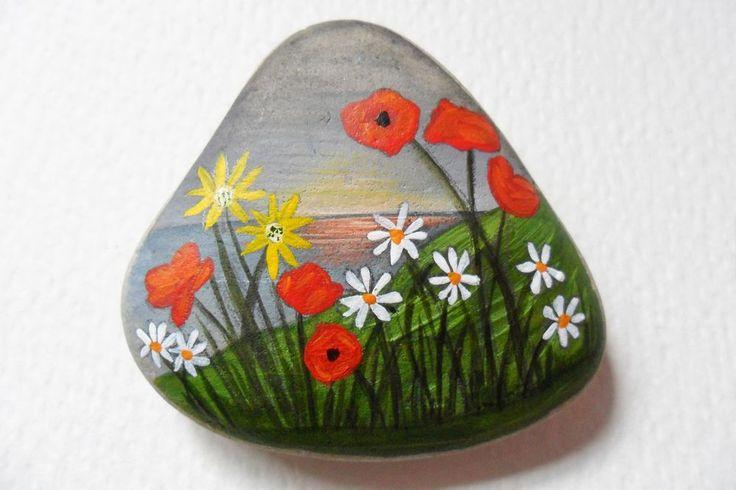 Wildflower sunset hand painted English beach pebble miniature art paperweight