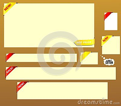 White banners with red and gold label. Vector illustration with white frame.  This banners are in the most popular sizes: 468x60px, 120x90px, 125x125px, 728x90px, 600x300px, 600x120px