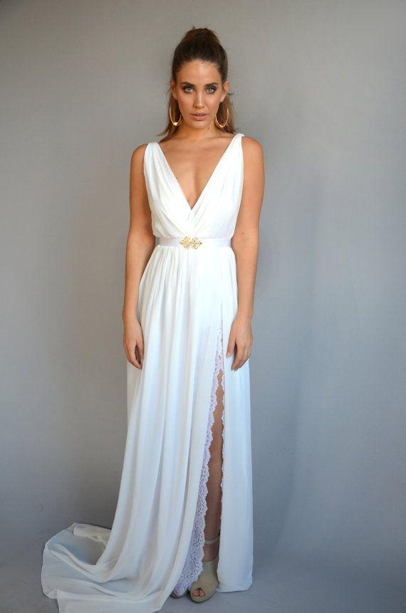 chiffon wedding dress lace slit wedding dress V neck by Barzelai