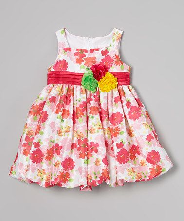 Look at this #zulilyfind! Dark Pink Floral Bubble Dress - Infant #zulilyfinds