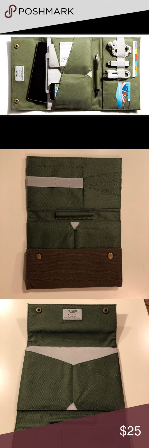 KNOMO KNOMAD folio organizer KNOMO London folio organizer to hold you phone, charging cables, subway pass, and kindle! Was only used a handful of times and is like new. Perfect for a traveler. Is a brown canvas with green canvas lining. knomo Bags Wallets