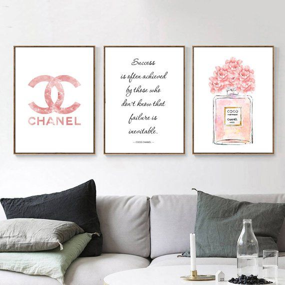 Chanel Chanel Poster Chanel Print Set Chanel Wall Art Coco Chanel Print Chanel Set Of 3 Chanel Fashion Wall Art Chanel Wall Decor Chanel Wall Art