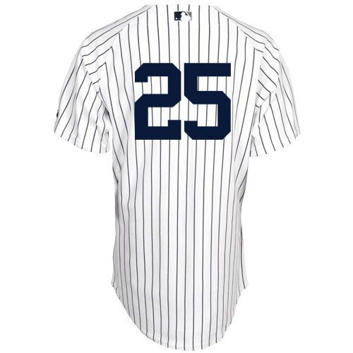 Men's MLB New York Yankees #25 White Jersey