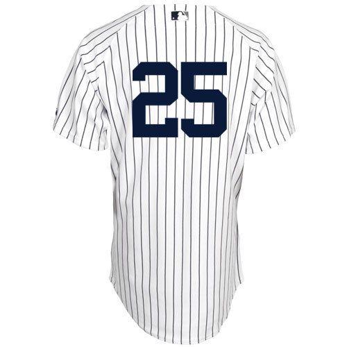 Men's MLB New York Yankees #25 White Jersey