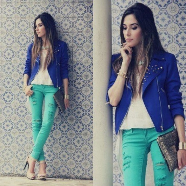 Mint green jeans paired w a great blue jacket. NOTE: 2 great color combos!