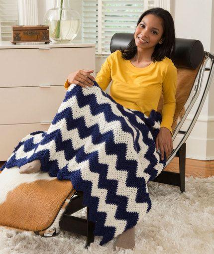 Cabin Chic Chevron Throw Free Crochet Pattern in Red Heart Yarns