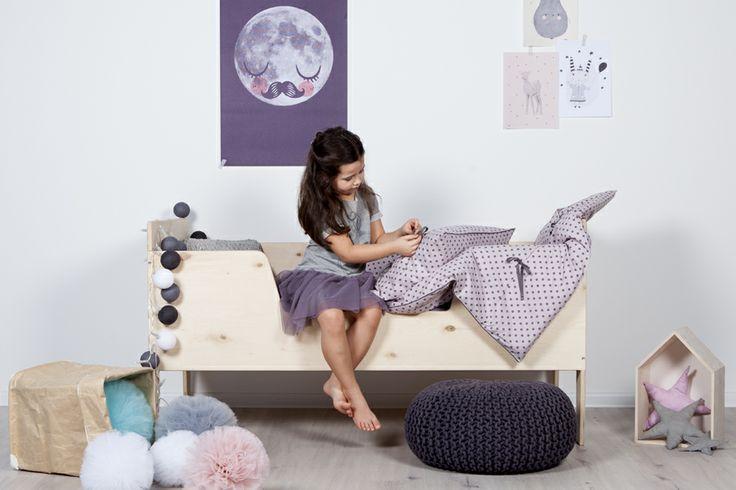 My label - kids room decoration, pompon, scandinavian playwood bed, bird house, kids bedding