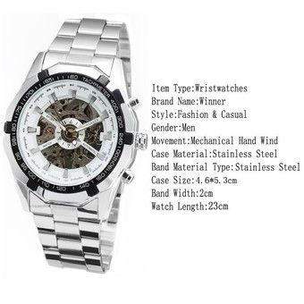 Buy WINNER Men Skeleton Dial Automatic Mechanical Stainless Steel Watch (White) online at Lazada. Discount prices and promotional sale on all. Free Shipping.