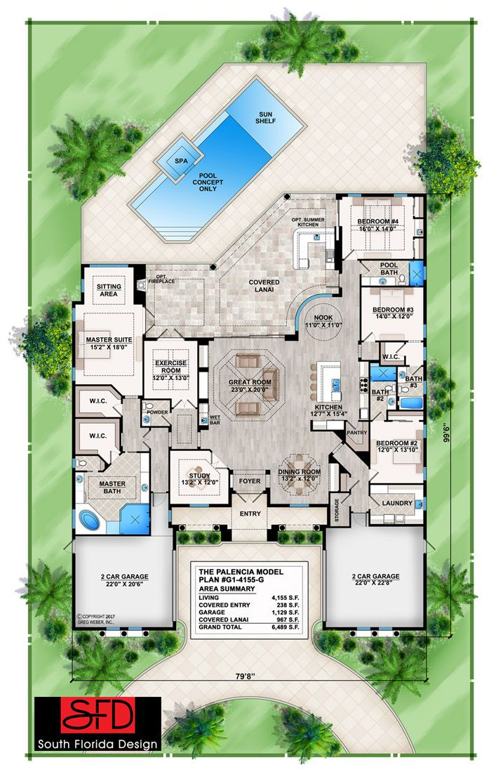 South Florida Designs Tuscan 4 Bedroom House Plan South Florida Design Mediterranean Style House Plans Florida House Plans House Layout Plans