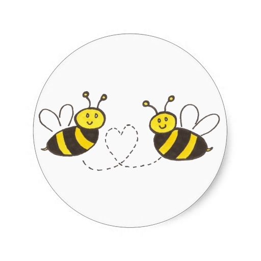Honey Bees With Heart Round Sticker Baby Shower