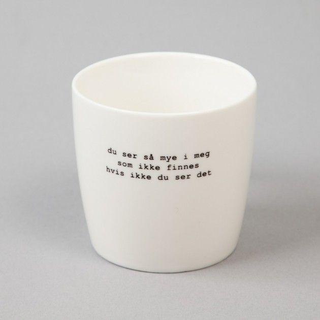 """Krus Hvit """"du ser"""" by Trygve Skaug   Søgne Home. Norsk design av interiør til den bevisste skandinaviske kunde."""