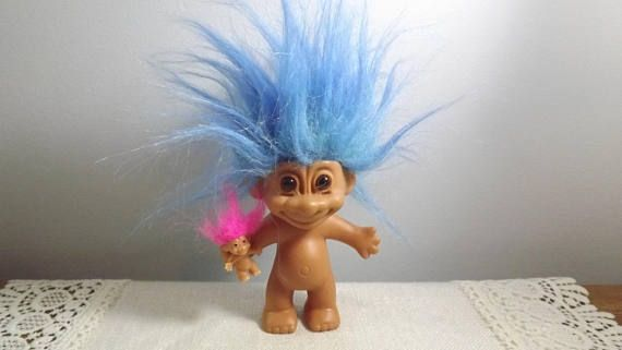 Vintage Troll Doll with Baby Blue Hair and Pink Haired Baby