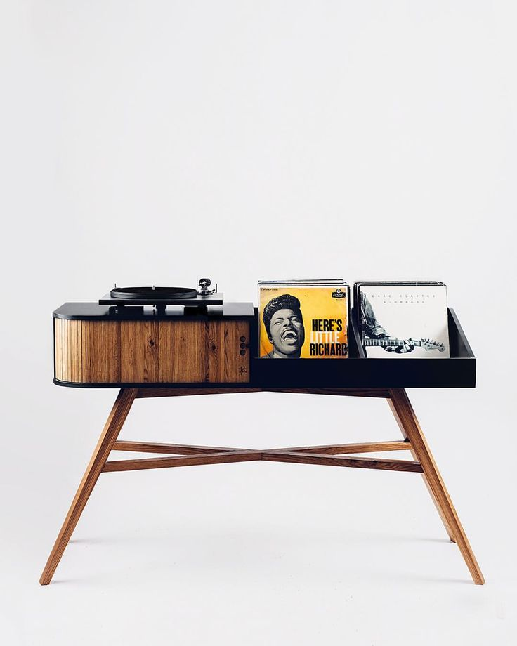 The Vinyl Table. A mid century modern inspired record player cabinet made out of Valchromat and oak, with a tambour door. Storage for amplifiers and around 200 records, along with cable management. Handmade in Norway.