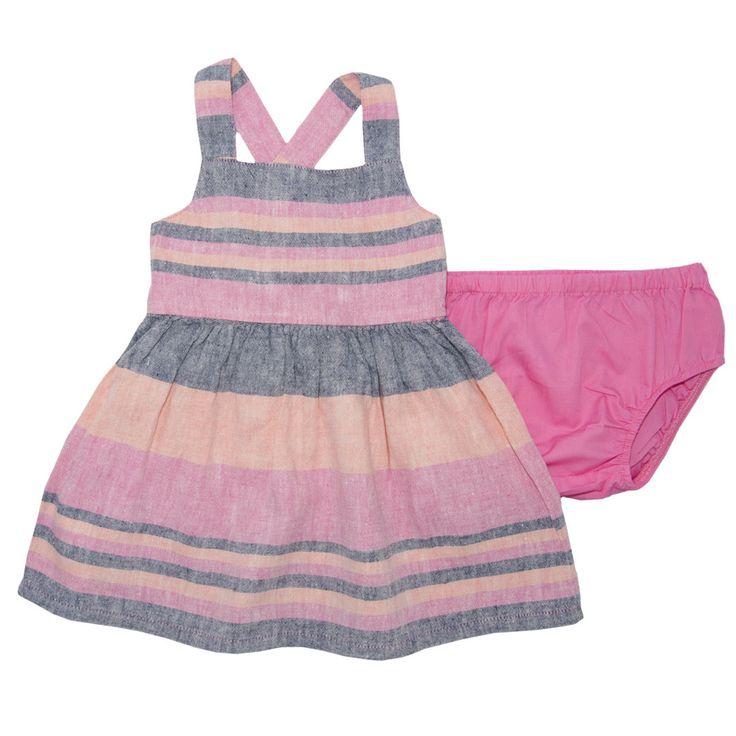 VESTIDO rosado rayas grices y coral,falda fruncida,breteles cruzados en espalda,cintura elastizada,55%lino,45% viscosa.Cuerpo forrado 100%algodón; BOMBACHA lisa coral 100% algodón. BABY DRESS LINES