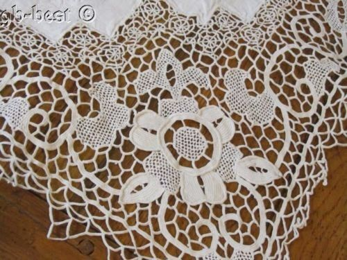 Antique Embroidered Linen Needle Lace Banquet Tablecloth 97 x 62 Lush Work   eBay
