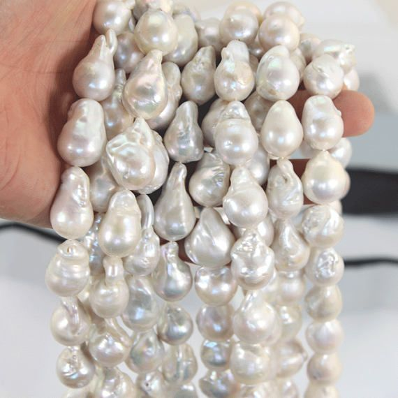 Lustrous Large White Pearls Jewelry Genuine Freshwater Pearl Beads Bracelet and Necklace AAA Large Baroque Pearl Wedding Jewelry Gift