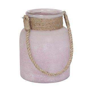 Sfeerlicht Hyeres. Matglazen sfeerlicht met een hengsel van jute. Kleur Roze. Afmeting Ø 16 x 14 cm. €12.95