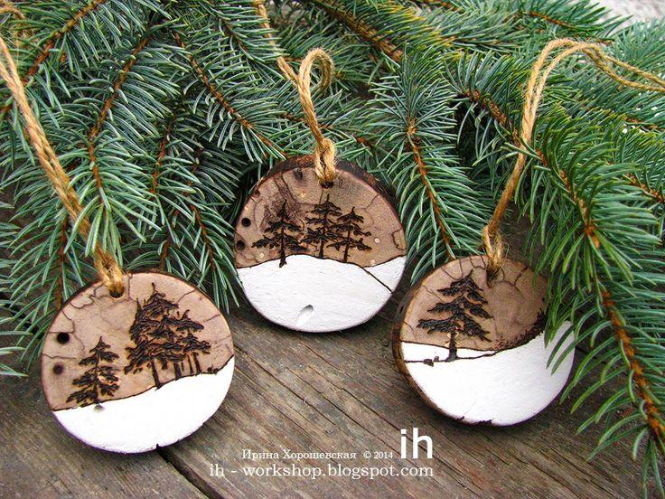 Елочные игрушки из натурального дерева