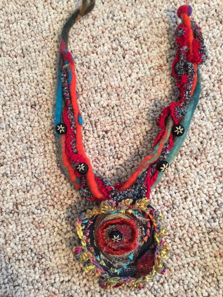 Felted and crocheted cords and pendant with beads and embroidery-Amy Mimu Rubin