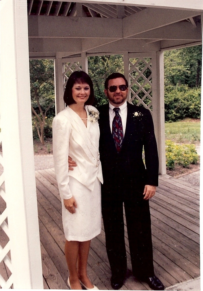 Author and speaker C. Hope Clark and her husband on their wedding day, June 27, 1992. They met on a federal investigation, hubby being the agent assigned to Hope's office.
